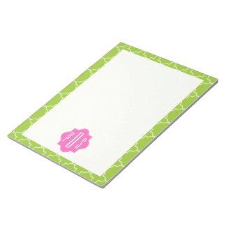 Pink + Green Quatrefoil Monogram Memo Pad