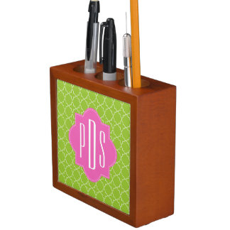 Pink + Green Quatrefoil Monogram Pencil Holder
