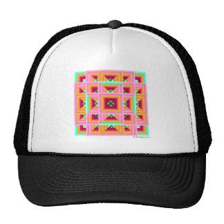 Pink Green Quilt Pattern 3 Cap