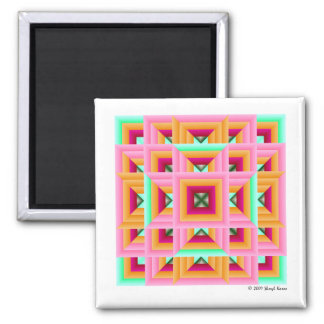 Pink Green Quilt Pattern 3 Magnet