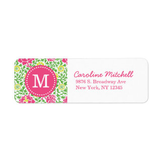 Pink & Green Retro Floral Damask Custom Monogram