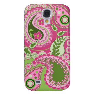 Pink / green retro Paisley Patterns Galaxy S4 Case