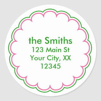 Pink Green Scallop Address Stickers