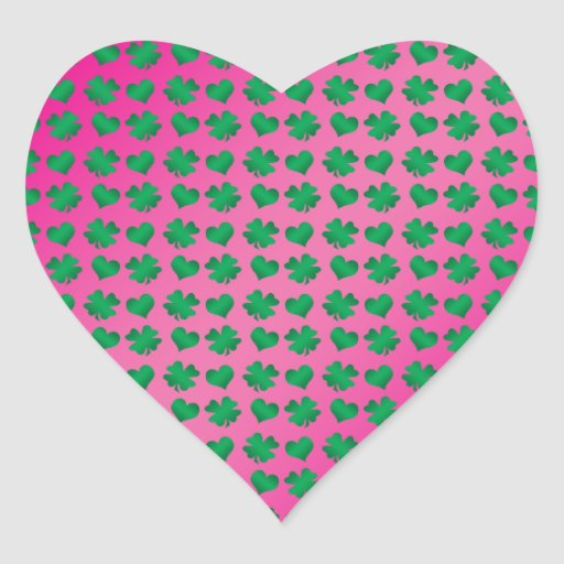 Pink green shamrocks and hearts heart stickers