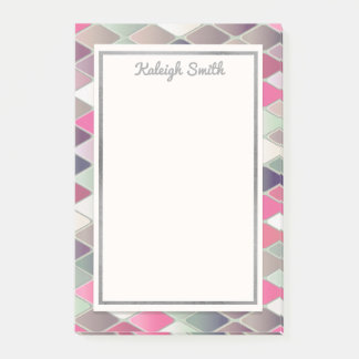Pink Green Silver Diamond Pattern Personalized Post-it Notes