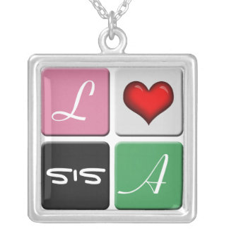 Pink Green SIS Sisters Necklace
