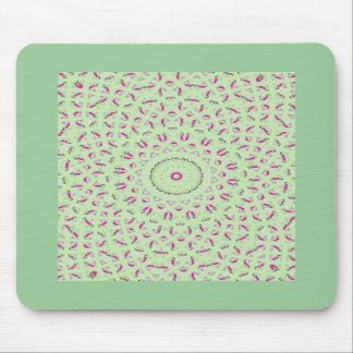 Pink & green spiral fractal design mouse pads