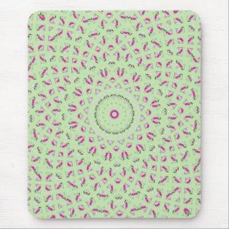 Pink green spiral fractal design mouse pad