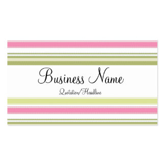 Pink Green Striped Business Cards