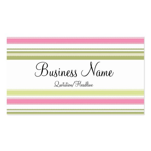 Pink & Green Striped Business Cards