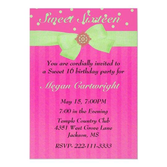 Pink & Green Sweet sixteen Birthday Invitation
