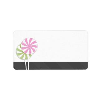 Pink & Green Swirl Lollipop Blank Address Label