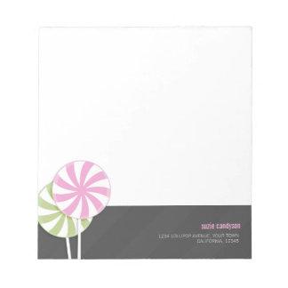 Pink & Green Swirl Lollipops Personalizable Note Pad
