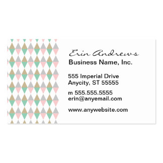 Pink Green Tan Diamond pattern Pack Of Standard Business Cards