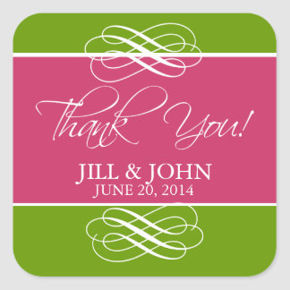 Pink Green Thank You Favor Label Wedding Stickers
