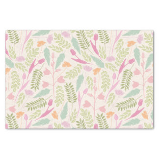 Pink green vintage spring bohemian floral pattern tissue paper