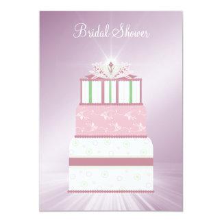 Pink & Green Wedding Cake Bridal Shower Invitation