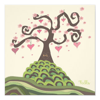 "Pink Green Wedding Monogram Blossom Tree Invite 5.25"" Square Invitation Card"