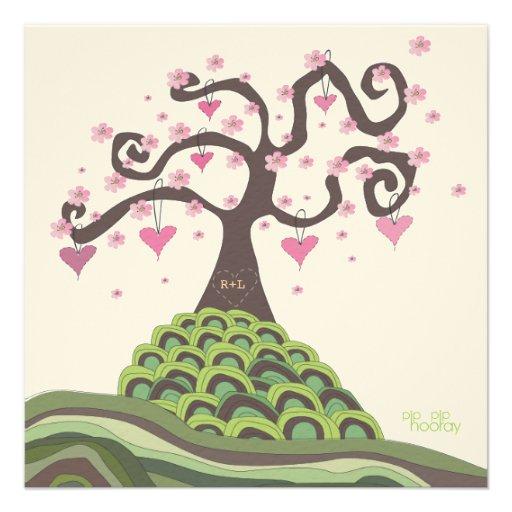 Pink Green Wedding Monogram Blossom Tree Invite