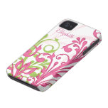 Pink Green White Abstract Floral iPhone 4 Case