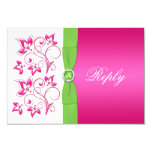 Pink Green White Floral Reply Card -PRINTED RIBBON 9 Cm X 13 Cm Invitation Card