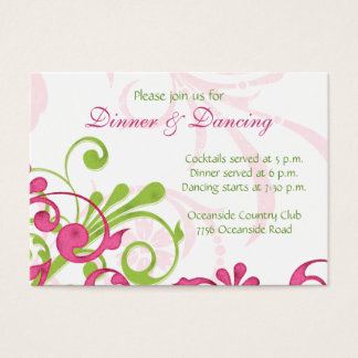 Pink Green White Floral Wedding Reception Card