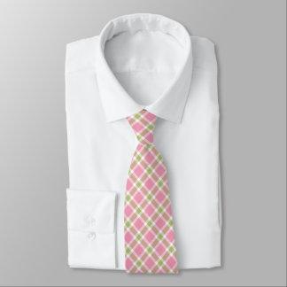 Pink, Green & White Tarten Plaid Men's Tie