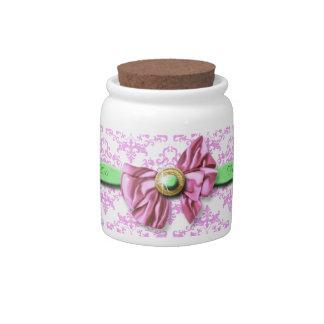 Pink green white wedding damask candy jar