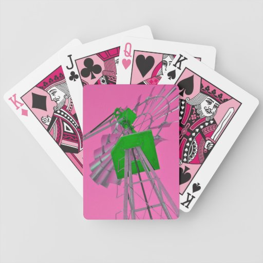 Pink & Green Windmill Poker Cards