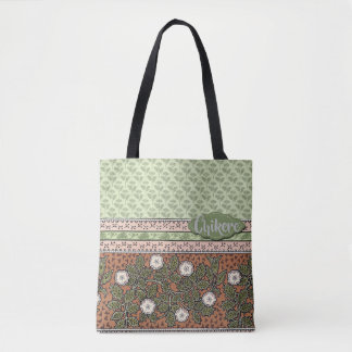 Pink, Green with White Flowers with Custom Text Tote Bag
