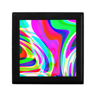 Pink Green Yellow Abstract Small Square Gift Box