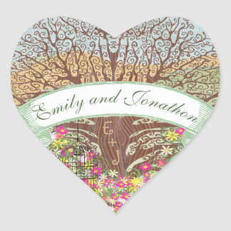 Pink Green Yellow Floral Brown Oak Tree Wedding Heart Sticker