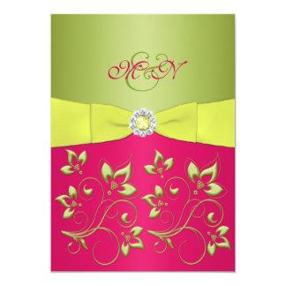 Pink,Green, Yellow Monogram Wedding Invitation