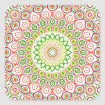 Pink, Green, Yellow & Orange Kaleidoscope Flowers Square Stickers