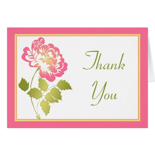 Pink, Green, Yellow, White Peony Thank You Card