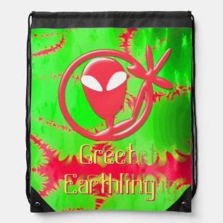 Pink Greeting Alien Greet Earthling Fractal Drawstring Backpack