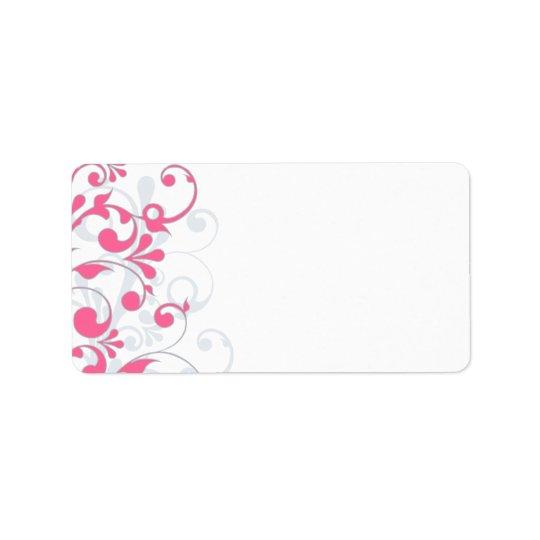 Pink Grey Abstract Floral Wedding Blank Address Address Label