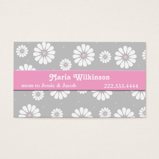 Pink, Grey, and White Daisy Mummy Card