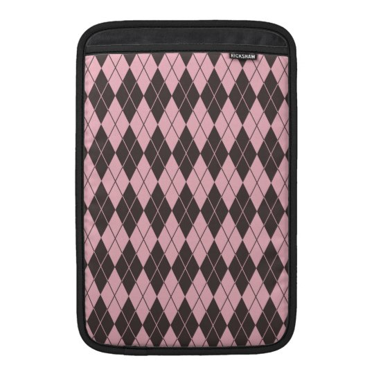 Pink & Grey Argyle Sleeve For MacBook Air
