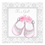 Pink Grey Baby Shoes Pink Grey Baby Girl Shower Personalized Invitation