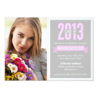 Pink Grey Banner Class of 2013 Photo Graduation Card