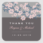 Pink Grey Cherry Blossom Floral Wedding Sticker