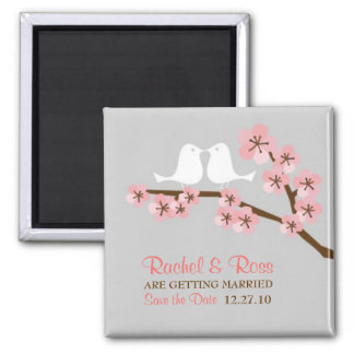 Pink & Grey Cherry Blossom Spring Save the Date Magnet