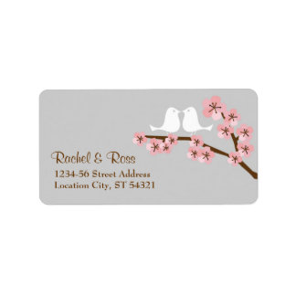 Pink & Grey Cherry Blossom Spring Wedding Address Label
