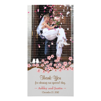 Pink & Grey Cherry Blossom Spring Wedding Personalised Photo Card