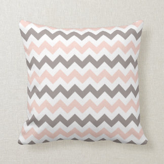 Pink & Grey Chevron 16''x16'' Polyester Pillow