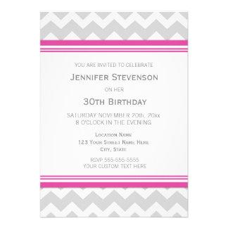 Pink Grey Chevron 30th Birthday Party Invitations