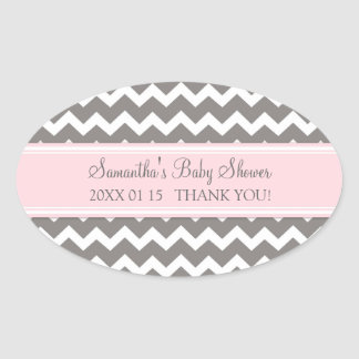 Pink Grey Chevron Baby Shower Favor Stickers
