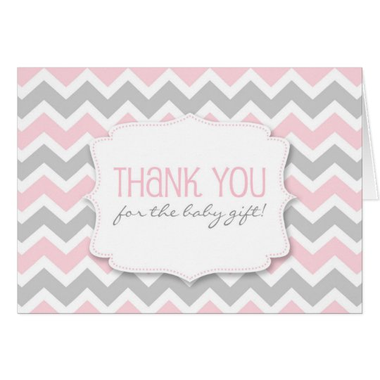Pink Grey Chevron Baby Shower thank you notes