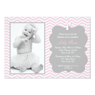 Pink Grey Chevron Baptism Invitations for girl
